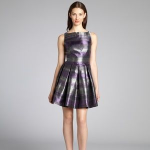 Shimmering metallic purple cocktail dress